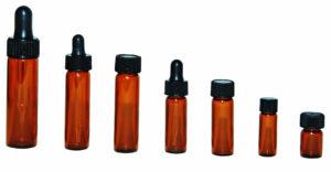 Amber Glass Vials with black cap